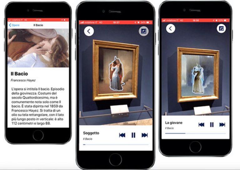 immagine di una sequenza in cui lo   smartphone riprende un quadro, evidenzia con contorno una figura e ne legge la descrizione.
